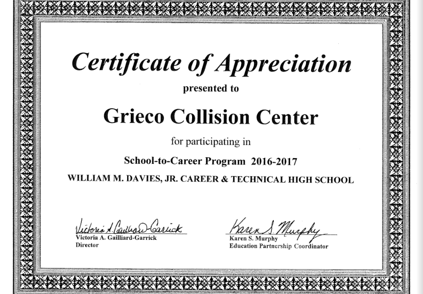 Education Partnership | Grieco Collision Center Rhode Island